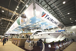 The Fairline stand at the Collins Stewart London Boat Show 2008